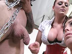 Two busty sluts get shuved with cocks and dildos