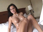 Hot chick gets creamed with whip cream on big tits