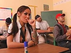 Brunette schoolgirl day dreams of her profs cock