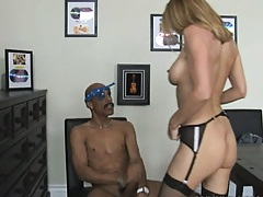 Milf rides black penis on the office chair