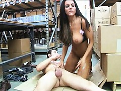 Busty mifl with a fit body rides cock and her tits bounce