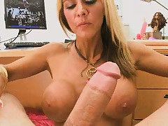Milf sucks on a cock with a cumstain on face