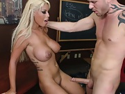 Blonde sluts takes teachers cock between her tits