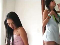 Teen lesbian girls massaging each other with Tiny Tessa