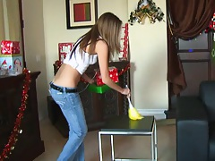 Jenna Haze hired by Scott for xmas cleaning