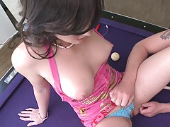 Teen prepped for some humilation on the pool table