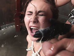 Asian slut with cum all over her eyes sucks many cocks
