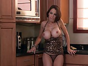 Big tits mom McKenzie masturbates in kitchen