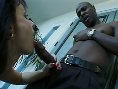 Blowjob with interracial action from Daniella Rush