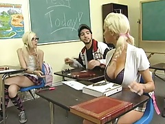 Hot chick dresses up for her big exam in school