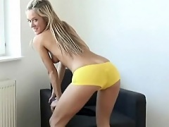 Carmen Cocks in yellow boy shorts touches herself