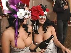 Hot chicks suck dick in a maskarade party