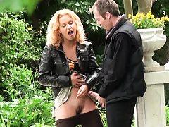 Slut pulls up skirt and reveals having no panties