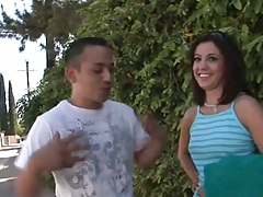 Outdoors with petite Nikki Vee then she flashes those tits