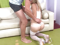 Transsexual Ayelen blowjob in horny lingerie