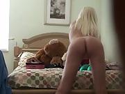 Blonde chick gets filmed in an amateur shot