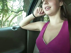 Cute amateur flashing her tits Zoe Rae while we are driving around
