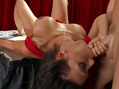 Rachel leans over cock on tit a thon