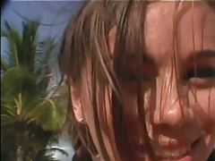 18 years old Alexiss Capri playing in the sand