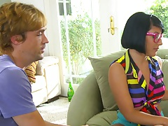 Petite nerdy teen Liv Aguilera gets undressed and ass squeezed