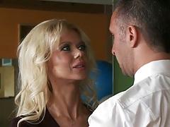 Hot blonde dancer teaching guy how to dance