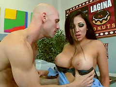 Big tits Audrey Bitoni getting undressed and ass licked