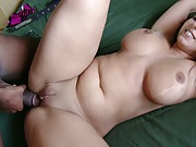 Milf spreads shaved pussy while penetrated