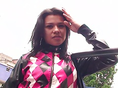 Outdoor latina Angel Azul in public goes for a ride