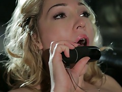 Lily Labeau sucking a dildo and solo masturbation