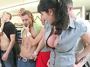 Group of hot sluts at the laundry the place