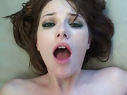 Gf opens her mouth for a mouthful cumshot swallow