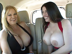 Crystal Storm and Daphne Rosen getting dirty in lesbian backseat
