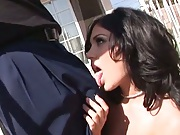 Andy San Dimas sucks a huge black penis outdoors and sucks on balls