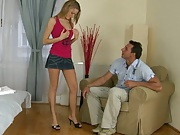 Mikes apartment with Bernice in a tight jean skirt