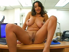 Trimmed pussy Persia climbs on table spreading legs and pussy