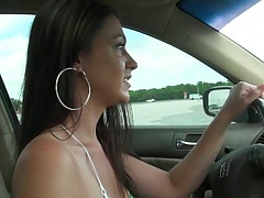 Hot babe Victoriia is driving around