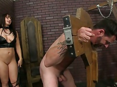 Femdom fetish with Lea Lexis and man in bondage