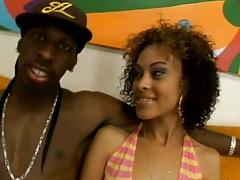 Ebony Angel Marie in her bikini then does lucky blowjob