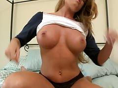 Big tits latina Nikki Delano sits on guy pov with blowjob and titty fuck