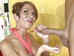 Cfnm party with facial cumshot on her face