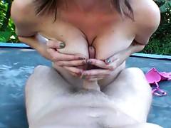 Sassha sits on dick on the trampoline