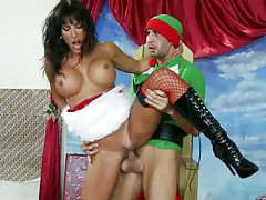 Doggy style fucking Lezley Zen in her santa outfit