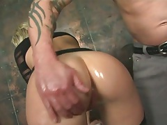 Chelsie Rae gets some oil on her big ass with doggy style anal