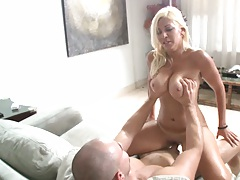 Big tits slapping each othe as Jazmyn rides cock
