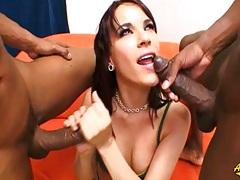 Group interracial blowjob with white Dana DeArmond taking two black cocks