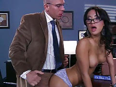 Teacher feeling up asian girl asa on his desk