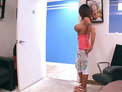 Damn hot big tits milf Candi Cox walks around topless