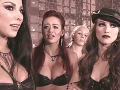 Celeste Star and a group fetish oriented lesbians