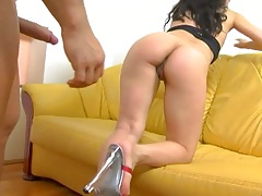 Approaching sd from behind for rear entry doggy style with moaning sex